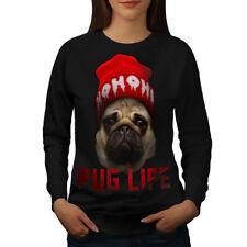 Wellcoda Cool Pug Meme Womens Sweatshirt, Swag Casual Pullover Jumper