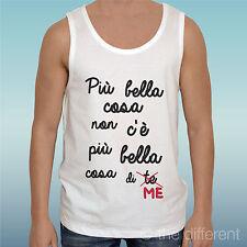 "CANOTTA T-SHIRT "" FRASE PIU BELLA COSA DI .. ME ""IDEA REGALO ROAD TO HAPPINESS"