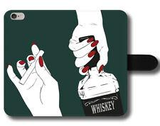 Whisky la fumée de cigarette FUN SEXY ROUGE ongles Cool week-end en Cuir Téléphone Étui Housse