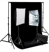 Studio 4 socket softbox video lighting kit optional black backdrop Support set