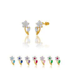 14kt Solid Gold Kids Flower Screwback Stud Earrings (Small)