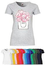 UL58 F288N Damen T-Shirt mit Motiv Paris Pink Flower   Design Rundhals Kurzarm
