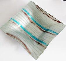 formano:Glasteller,Kerzen-Teller Stripes hellblau/silber - quadratisch 21x21 cm