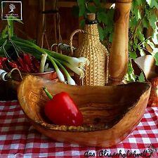 Olivenholz Schüssel Salatschüssel Holz Obstschale naturbelassener Rand oval