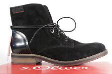 s. Oliver Botas de cordón, Botines, botas, cuero auténtico, negro 25203 NUEVO
