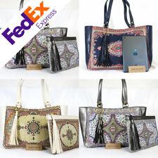 2 PCS Embroidered Kilim Rug Style Women Lady Tote Tassel Handbag Made in Turkey