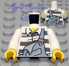 NEW Lego Minifig WHITE TORSO w/Gray Prison Jail Stripes & Bibs - Police/Agents