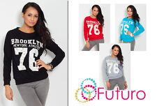 Women's Brooklyn Sweatshirt Blouse Print Jumper Crew Neck Sports Size 8-12 8303