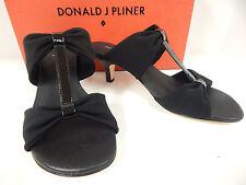 """Donald J Pliner Randi-B 2 1/2"""" Black Fabric w/ Patent T-Strap Slides-New"""