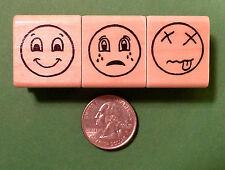 Expressions Smiley Face Set of 3, Regular Size, Teacher's Rubber Stamps Set