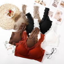 Women Push Up Bra Wire Free Lace Underwear Sports Lace Yoga Vest Sleep Bra sm