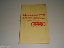 Schmierplan / Schmieranweisung DKW Schwebeklasse 4-Zylinder / 1000 ccm
