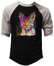 Men's Neon Abyssinian Cat Black 3/4 Sleeve Baseball Raglan T Shirt Animal Kitten