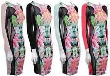 New Ladies Long Mesh Sleeves Floral Print Women's Bodycon Dress