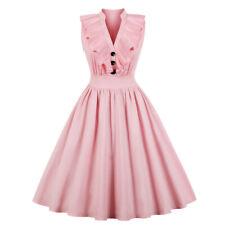 UK Womens Vintage V Neck Style 50s 60s Frill Rockabilly Evening Prom Swing Dress