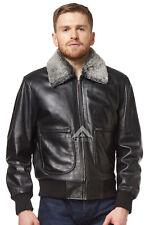 'AIR FORCE' Men's BLACK Fur Collar Aviator BOMBER Real Nappa Leather Jacket 1169