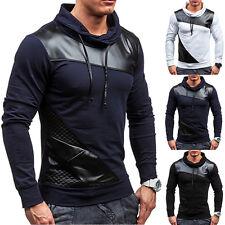 Männer Trainings-Kunstleder-Marine-blaues langes Hülsen-dünnes T-Shirt Sweatshir