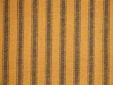 Pumpkin And Black Homespun Ticking Fabric | Primitive Stripe Cotton Fabric