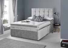 MEMORY FOAM CRUSHED VELVET DIVAN BED SET + MATTRESS + HEADBOARD 3FT 4FT 4FT6 5FT