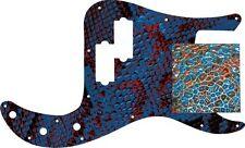 Pickguard Pick Guard Scratchplate Fender P Bass Guitar Textured Blue Snakeskin