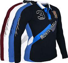 Polo Hombre Slim Fit camisa manga larga camiseta azul marino/blanco/Azul / rojo