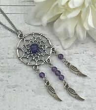 Amethyst Gemstone Dreamcatcher Silver Necklace Healing Crystal Chakra Pendant