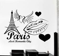 Wall Decal Paris France Eiffel Tower Heart Wing Love Romantic Vinyl Decal z3131