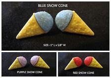 Snow Cone Earrings Ice Cream *OPTION* Kawaii Handmade Silver Post Stud