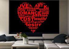 Love Heart Love Quote Wall Sticker Decal Mural Transfer Stencil Art Vinyl