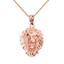 10k Rose Gold Diamond Cut Roaring Lion Head Face Pendant Necklace