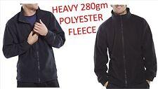 Heavyweight 280GSM Full Zip Fleece Jacket Workwear Winter Outdoor Navy Black