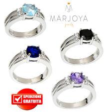 Anello solitario in argento 925 con zirconi bianchi,blu,nero,viola e azzurro