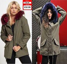 Womens Ladies Oversized Hood Soft Coloured BLUE/WINE Fur Brave Soul Parka Jacket