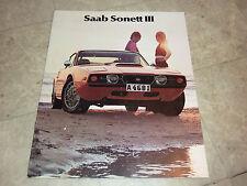 1972 SAAB SONETT III  LITERATURE MANUAL BROCHURE PAMPHLET