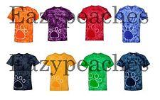PEACHES PICK - PAW PRINT Tie Dye T-shirts S,M,L,XL,2X,3X Blank Tye Died Dyed Tee