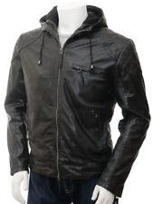 Men Black Leather Jacket with Hood Biker Motorcycle Size S M L XL XXL Custom Fit