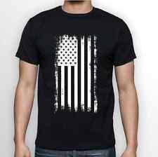 USA American Flag Distressed Style White on Black T Shirt Tee S M L XL XXL