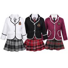 Girl British Style School Uniform Student Costume Coat+Shirt+Tie+Skirt/Pants Set