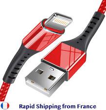 CABLE CHARGER Sync braided nylon tressé iPHONE 5 C 6 7 8 X Xs Xr Xsmax IPAD IPOD