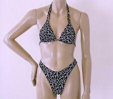 80s 90s High Leg Brazilian Bikini Bottom with Triangle Top in Jigsaw Print