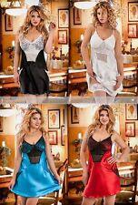 Satin Babydoll Carino scivola 042 Plus Size Camicia da notte donna chemise in pizzo 8-22 UK