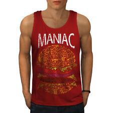 Wellcoda Burger Junk Fast Food Mens Tank Top,  Active Sports Shirt