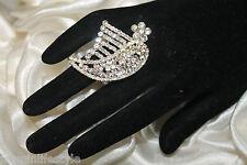 NUOVO CON STRASS FIORE CRISTALLO DIAMANTE NUZIALI partycostume gioielli anello dito