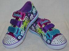 Skechers Girls' Chit Chat Glint & Gleam Denim/Multi Light-Up Sneakers-Size 11/3