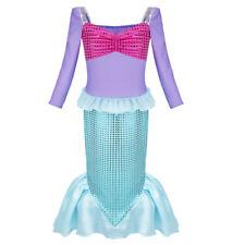 Abendkleid Partykleid Meerjungfrau Kleider Lang für Baby Mädchen Grün mit Lila