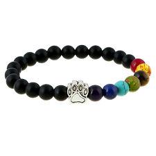 Bead Yoga Bracelet Men Women Dog Paw Elastic Rope Healing Balance Rainbow