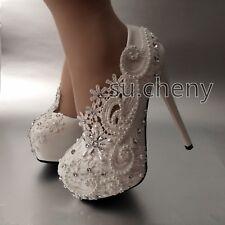 "5.5"" heel white pearl lace flowers platform heels wedding shoes Bridal high size"