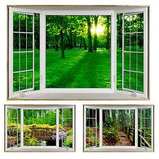 Faux - Fake Window Illusion - white bay window scenery - Greenery Various Views