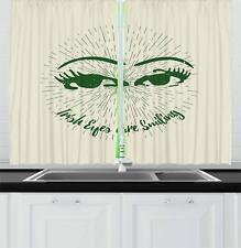 "Funny Kitchen Curtains 2 Panel Set Decor Window Drapes 55"" X 39"" Ambesonne"