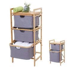 Wäschesammler HWC-B56, Regal Wäschesortierer Wäschekorb, Bambus 72l oder 78l